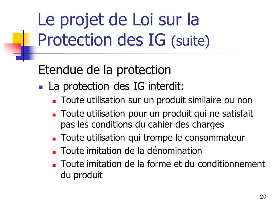 20 Le projet de Loi sur la Protection des IG (suite) Etendue de la protection La protection des IG interdit: Toute utilisation sur un produit similair