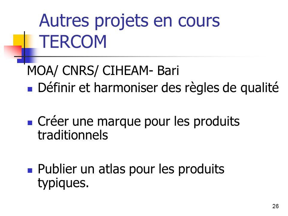 26 Autres projets en cours TERCOM MOA/ CNRS/ CIHEAM- Bari Définir et harmoniser des règles de qualité Créer une marque pour les produits traditionnels Publier un atlas pour les produits typiques.