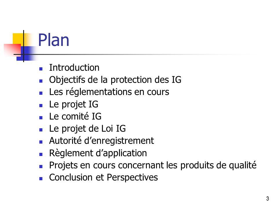 3 Plan Introduction Objectifs de la protection des IG Les réglementations en cours Le projet IG Le comité IG Le projet de Loi IG Autorité denregistrement Règlement dapplication Projets en cours concernant les produits de qualité Conclusion et Perspectives