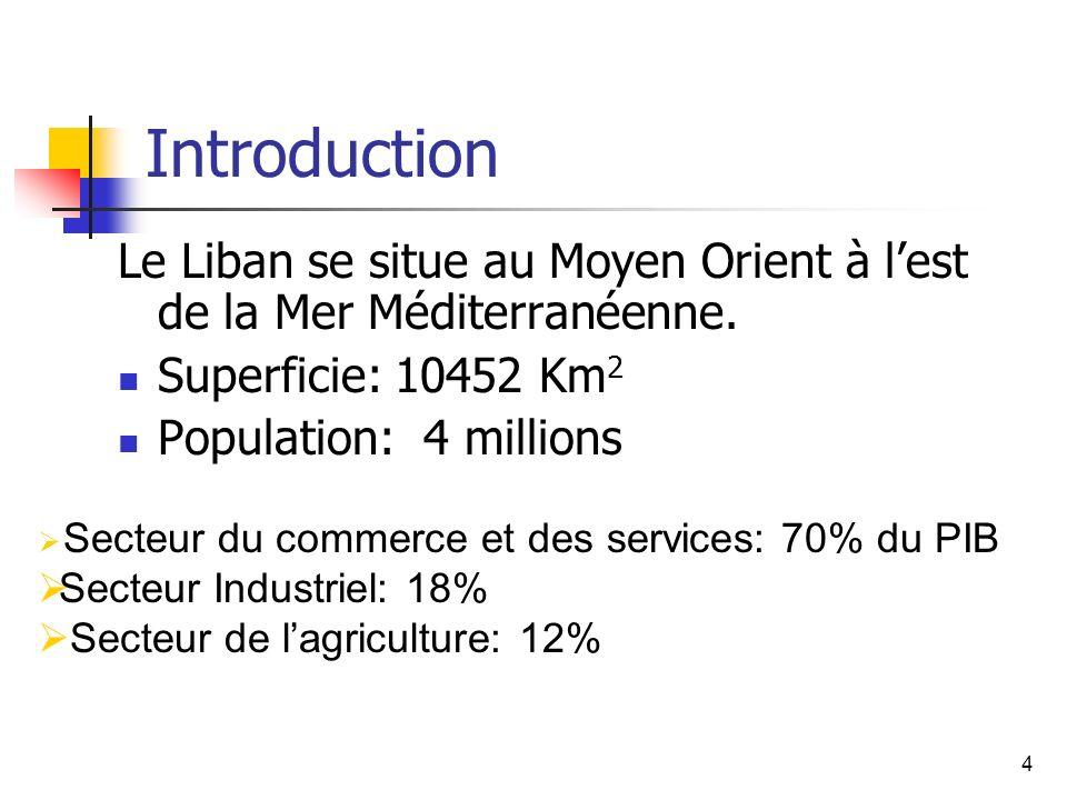 4 Introduction Le Liban se situe au Moyen Orient à lest de la Mer Méditerranéenne. Superficie: 10452 Km 2 Population: 4 millions Secteur du commerce e