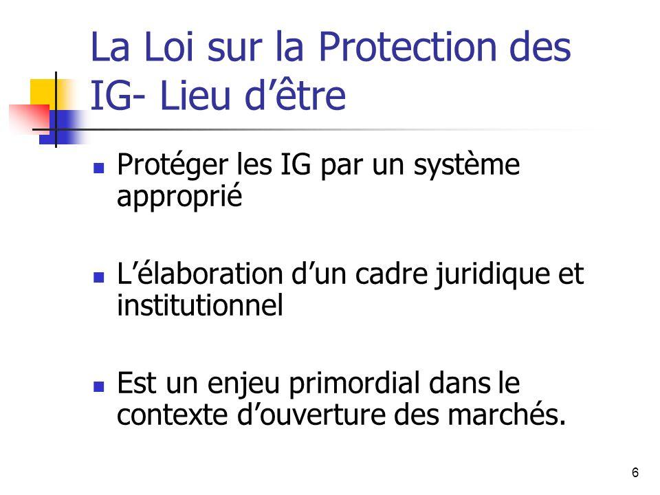 6 La Loi sur la Protection des IG- Lieu dêtre Protéger les IG par un système approprié Lélaboration dun cadre juridique et institutionnel Est un enjeu primordial dans le contexte douverture des marchés.