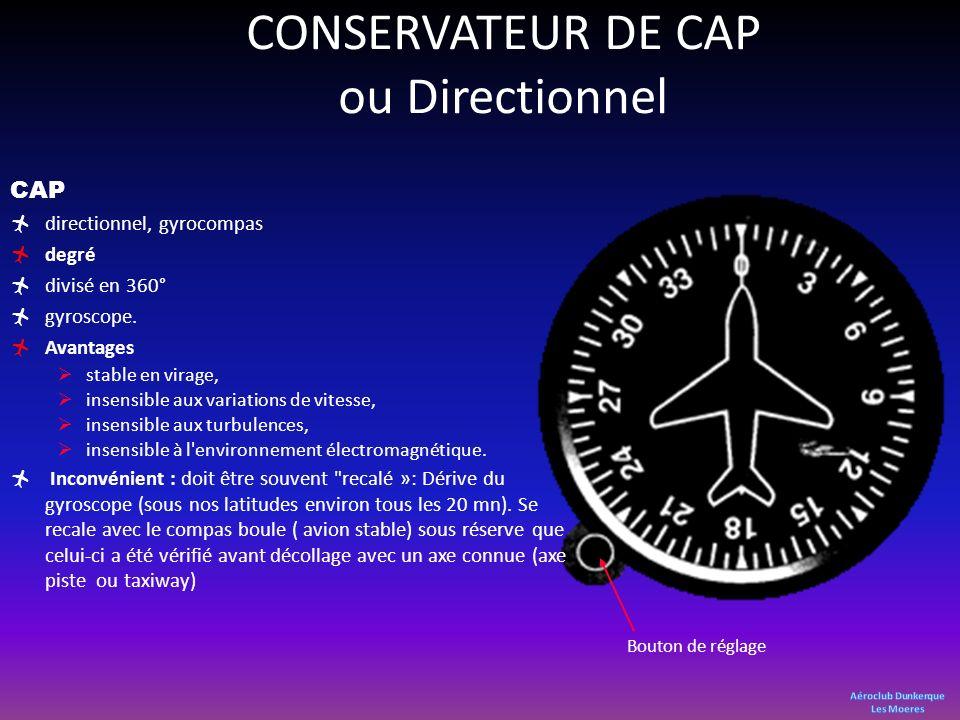 CONSERVATEUR DE CAP ou Directionnel CAP directionnel, gyrocompas degré divisé en 360° gyroscope. Avantages stable en virage, insensible aux variations