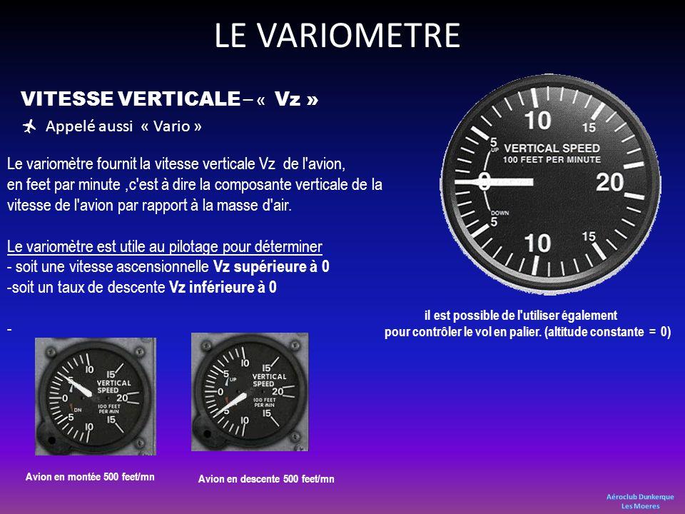 LE VARIOMETRE VITESSE VERTICALE – « Vz » Appelé aussi « Vario » Le variomètre fournit la vitesse verticale Vz de l'avion, en feet par minute,c'est à d