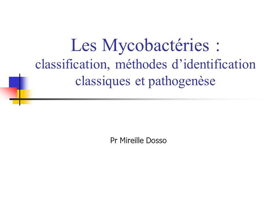 Les Mycobactéries : classification, méthodes didentification classiques et pathogenèse Pr Mireille Dosso