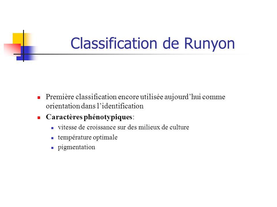 Classification de Runyon Première classification encore utilisée aujourdhui comme orientation dans lidentification Caractères phénotypiques: vitesse d