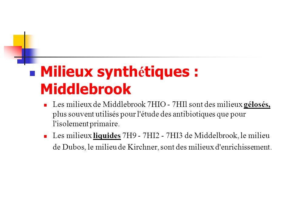 Milieux synth é tiques : Middlebrook Les milieux de Middlebrook 7HIO - 7HIl sont des milieux gélosés, plus souvent utilisés pour l'étude des antibioti