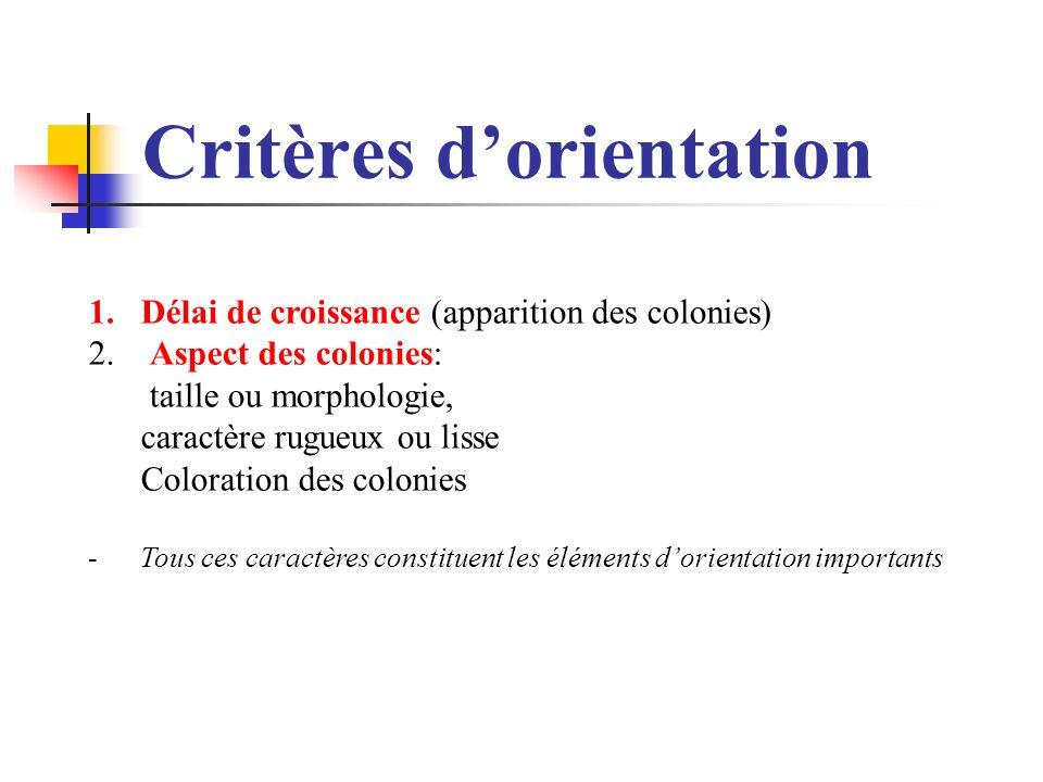 Critères dorientation 1.Délai de croissance (apparition des colonies) 2. Aspect des colonies: taille ou morphologie, caractère rugueux ou lisse Colora
