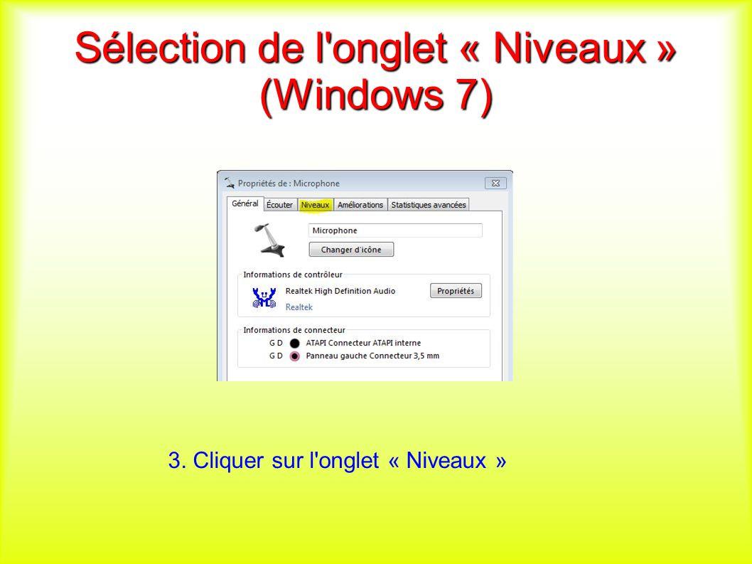 Sélection de l onglet « Niveaux » (Windows 7) 3. Cliquer sur l onglet « Niveaux »