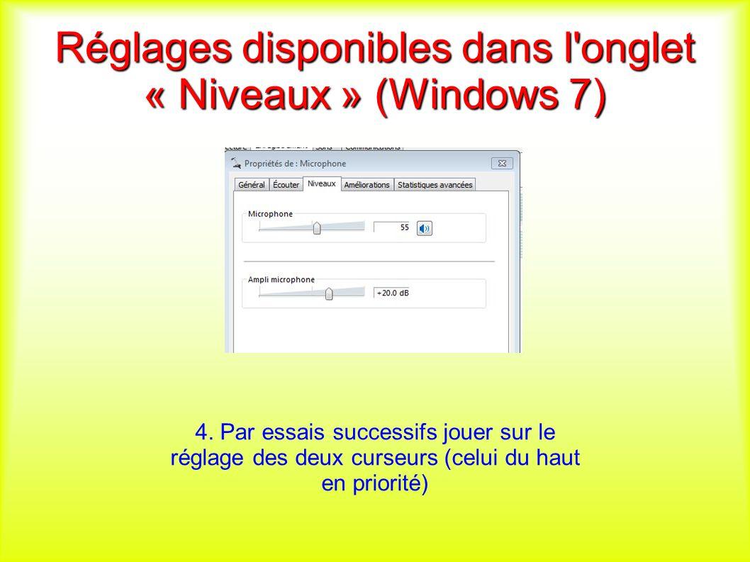 Réglages disponibles dans l onglet « Niveaux » (Windows 7) 4.