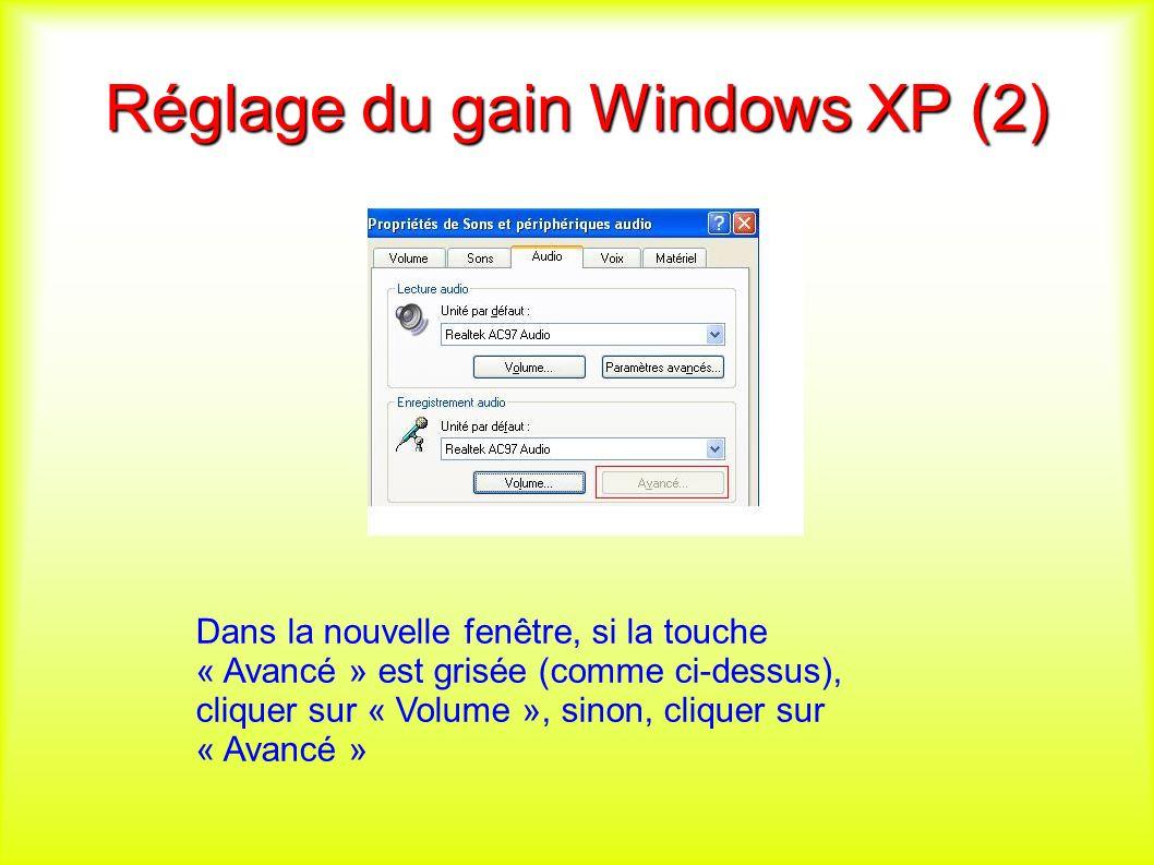 Réglage du gain Windows XP (2) Dans la nouvelle fenêtre, si la touche « Avancé » est grisée (comme ci-dessus), cliquer sur « Volume », sinon, cliquer sur « Avancé »
