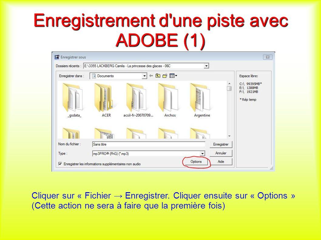 Enregistrement d une piste avec ADOBE (1) Cliquer sur « Fichier Enregistrer.