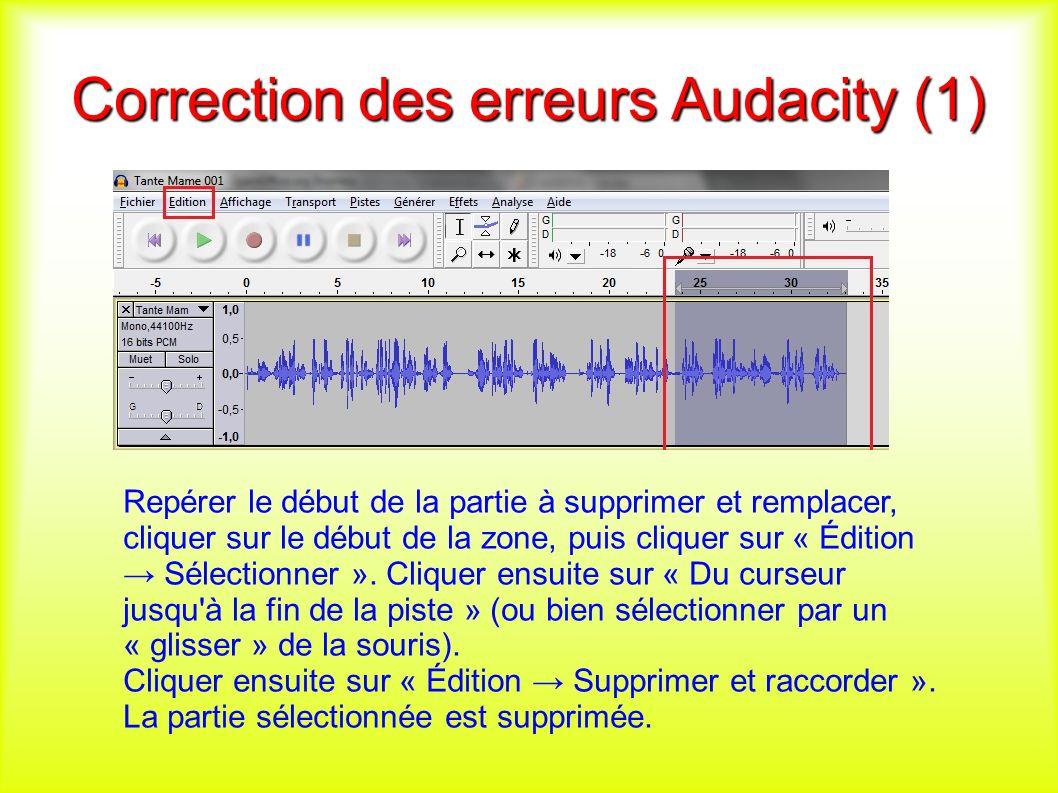 Correction des erreurs Audacity (1) Repérer le début de la partie à supprimer et remplacer, cliquer sur le début de la zone, puis cliquer sur « Édition Sélectionner ».