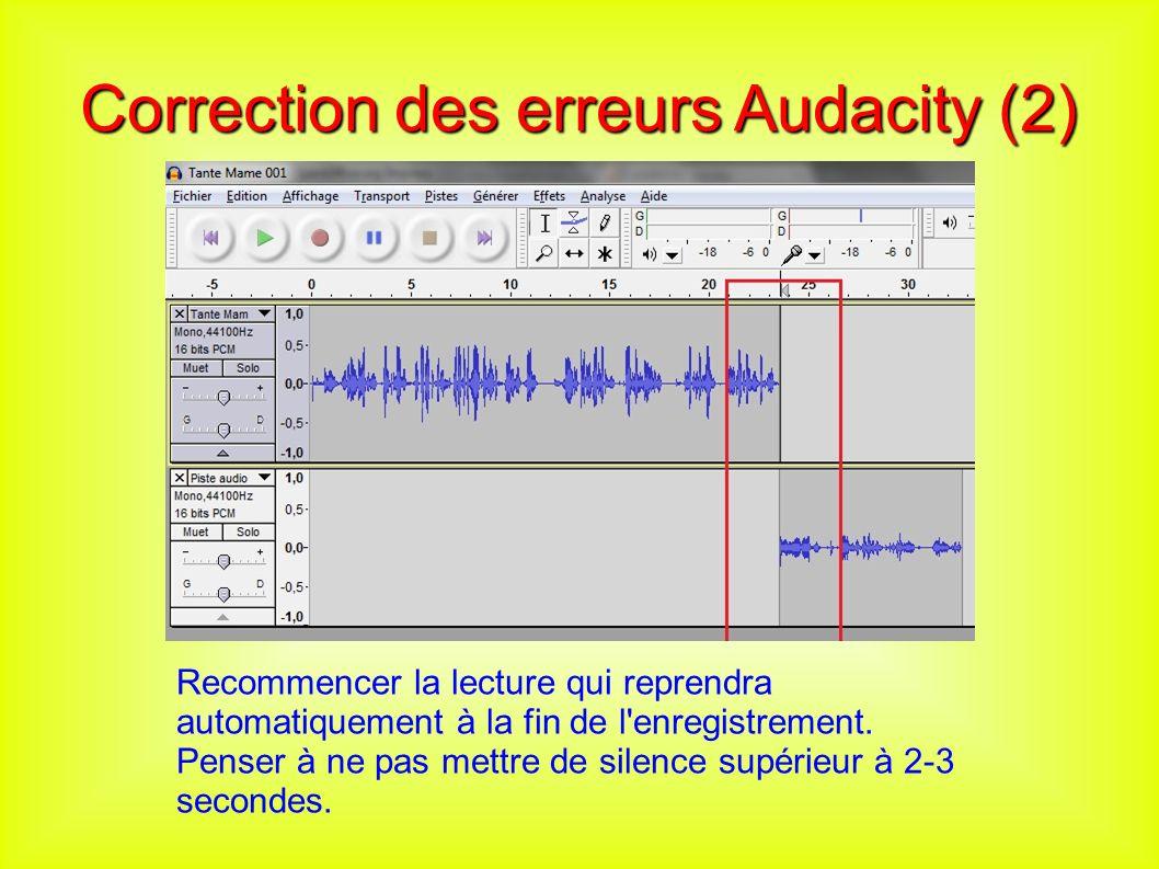 Correction des erreurs Audacity (2) Recommencer la lecture qui reprendra automatiquement à la fin de l enregistrement.