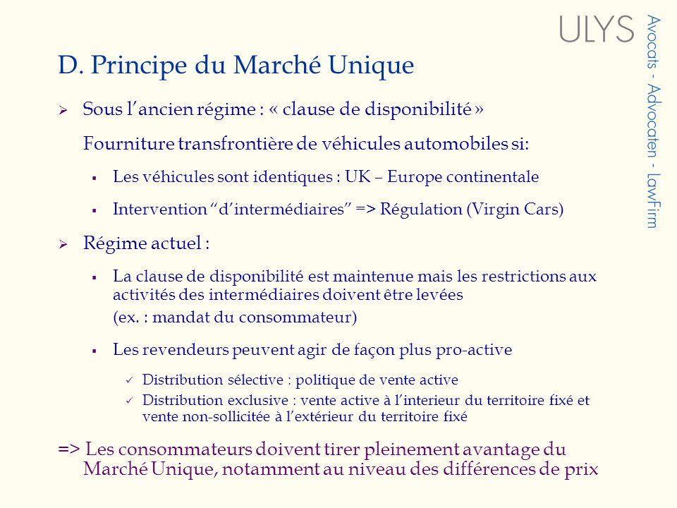 D. Principe du Marché Unique Sous lancien régime : « clause de disponibilité » Fourniture transfrontière de véhicules automobiles si: Les véhicules so