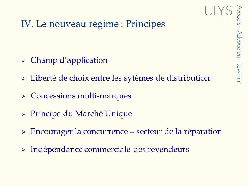 IV. Le nouveau régime : Principes Champ dapplication Liberté de choix entre les sytèmes de distribution Concessions multi-marques Principe du Marché U