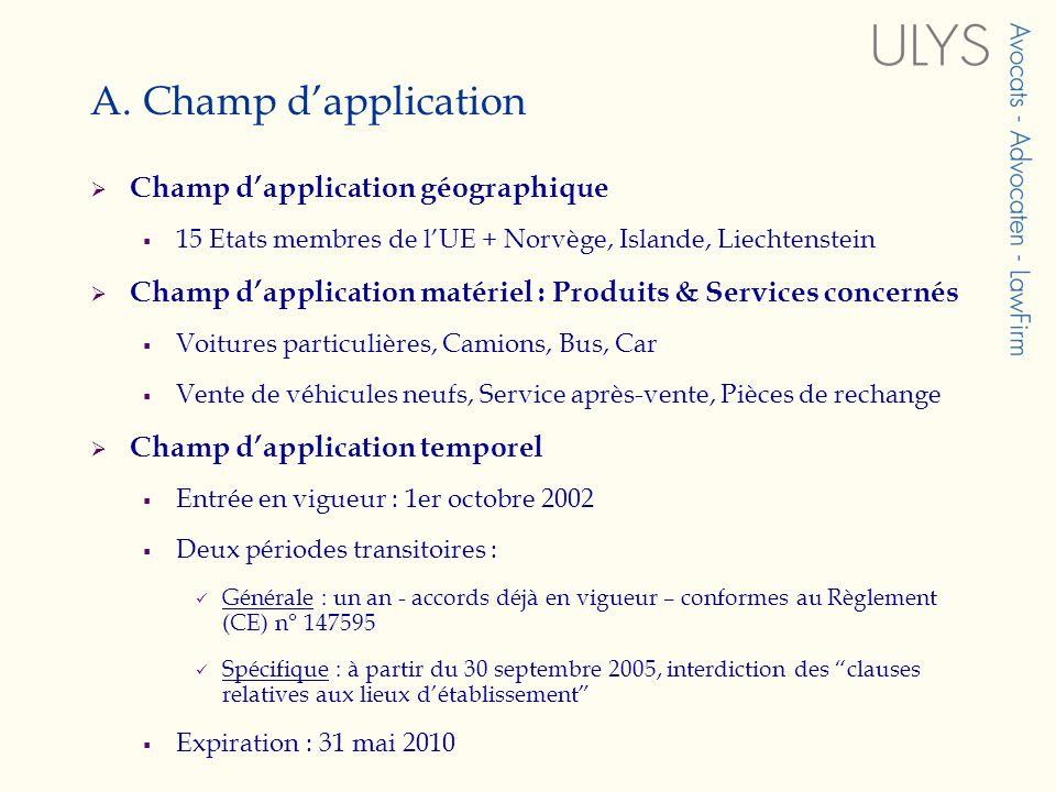 A. Champ dapplication Champ dapplication géographique 15 Etats membres de lUE + Norvège, Islande, Liechtenstein Champ dapplication matériel : Produits