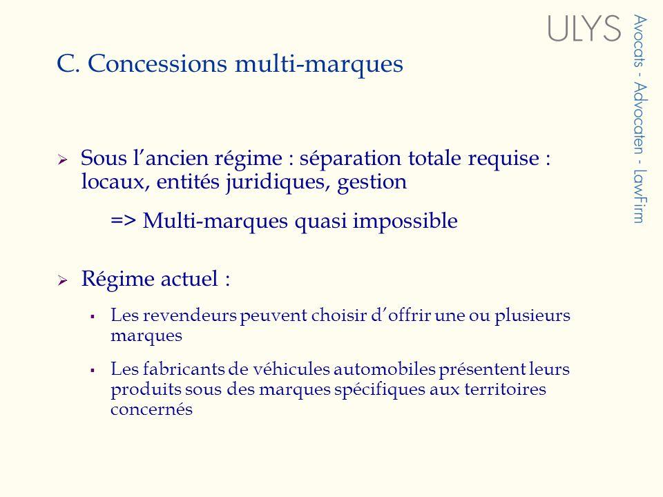 C. Concessions multi-marques Sous lancien régime : séparation totale requise : locaux, entités juridiques, gestion => Multi-marques quasi impossible R