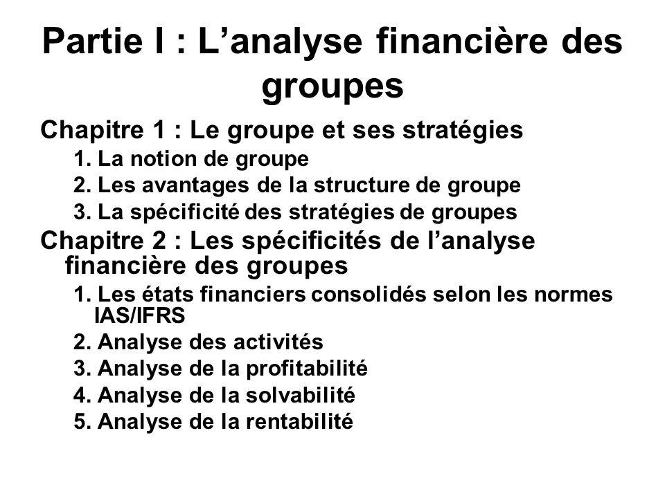 Partie I : Lanalyse financière des groupes Chapitre 1 : Le groupe et ses stratégies 1. La notion de groupe 2. Les avantages de la structure de groupe