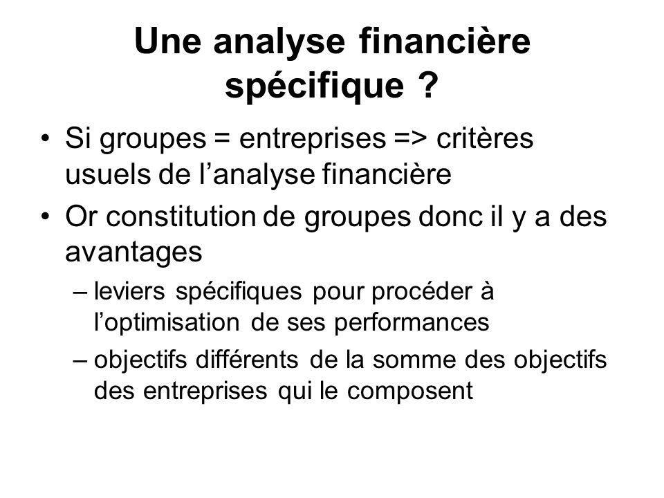 Une analyse financière spécifique ? Si groupes = entreprises => critères usuels de lanalyse financière Or constitution de groupes donc il y a des avan