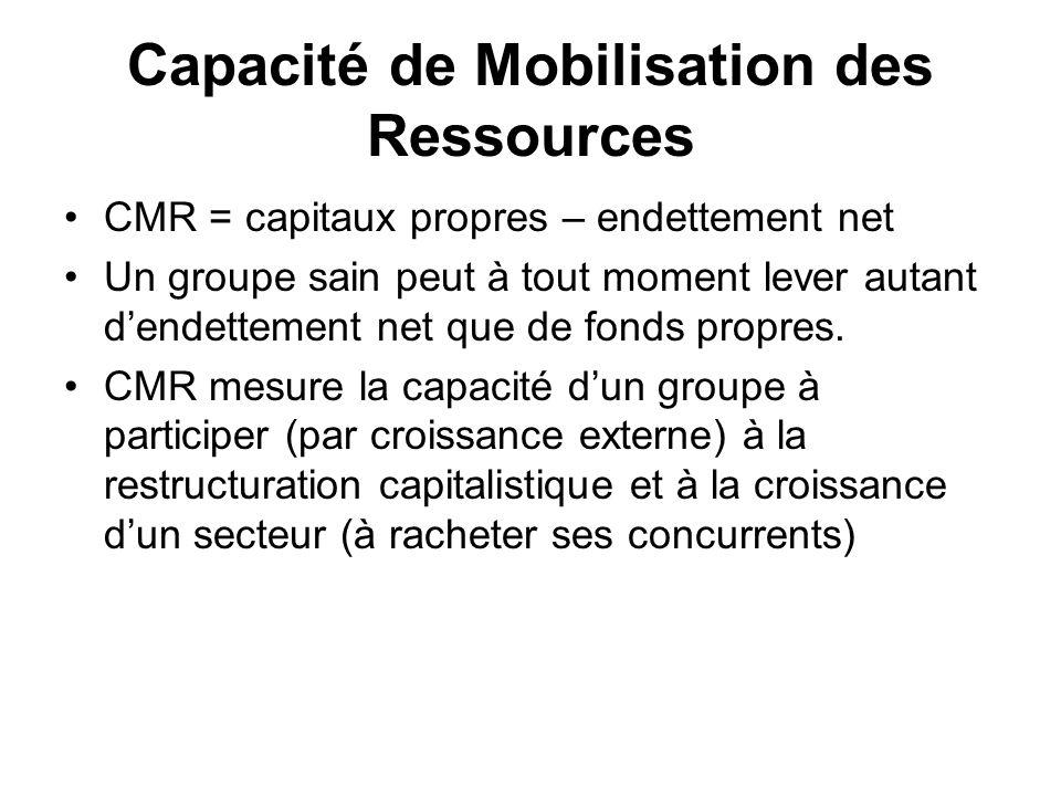 Capacité de Mobilisation des Ressources CMR = capitaux propres – endettement net Un groupe sain peut à tout moment lever autant dendettement net que d