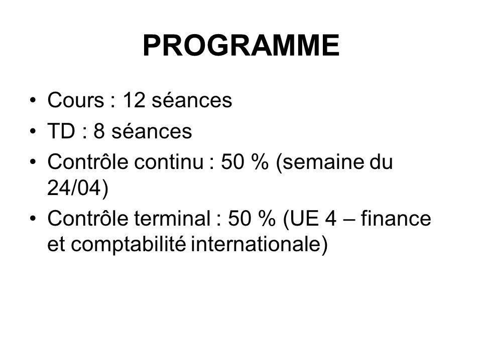 PROGRAMME Cours : 12 séances TD : 8 séances Contrôle continu : 50 % (semaine du 24/04) Contrôle terminal : 50 % (UE 4 – finance et comptabilité intern