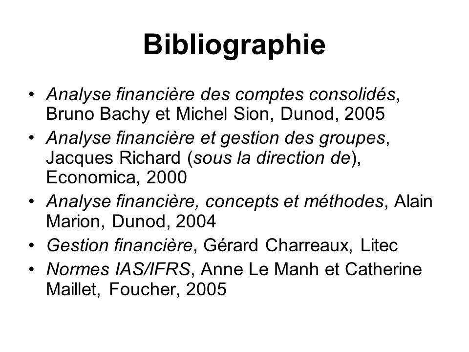 Bibliographie Analyse financière des comptes consolidés, Bruno Bachy et Michel Sion, Dunod, 2005 Analyse financière et gestion des groupes, Jacques Ri