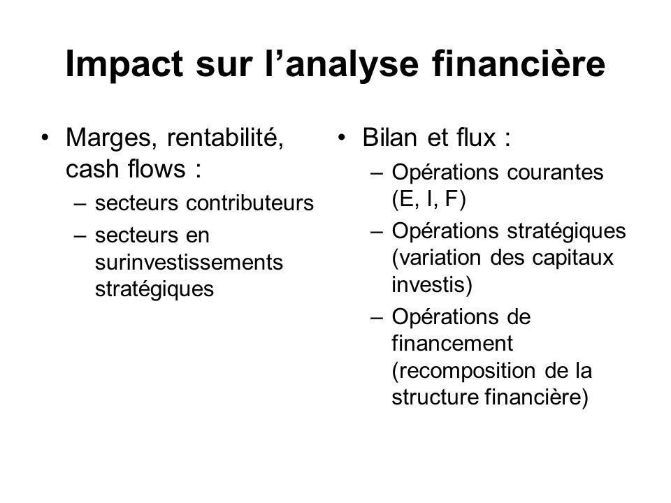 Impact sur lanalyse financière Marges, rentabilité, cash flows : –secteurs contributeurs –secteurs en surinvestissements stratégiques Bilan et flux :