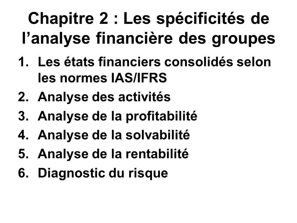 Chapitre 2 : Les spécificités de lanalyse financière des groupes 1.Les états financiers consolidés selon les normes IAS/IFRS 2.Analyse des activités 3