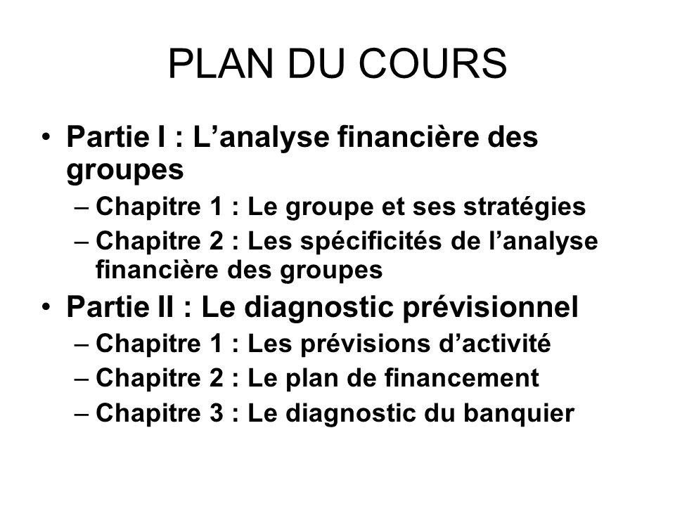PLAN DU COURS Partie I : Lanalyse financière des groupes –Chapitre 1 : Le groupe et ses stratégies –Chapitre 2 : Les spécificités de lanalyse financiè