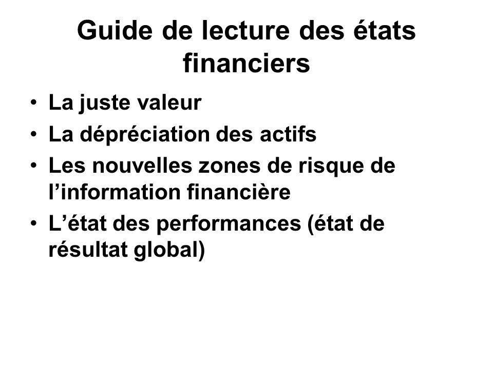 Guide de lecture des états financiers La juste valeur La dépréciation des actifs Les nouvelles zones de risque de linformation financière Létat des pe