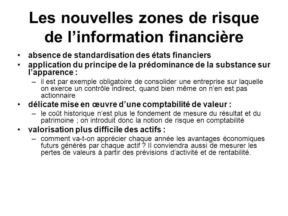 Les nouvelles zones de risque de linformation financière absence de standardisation des états financiers application du principe de la prédominance de