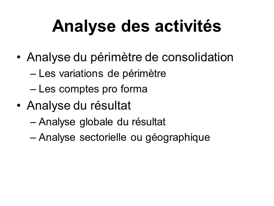 Analyse des activités Analyse du périmètre de consolidation –Les variations de périmètre –Les comptes pro forma Analyse du résultat –Analyse globale d