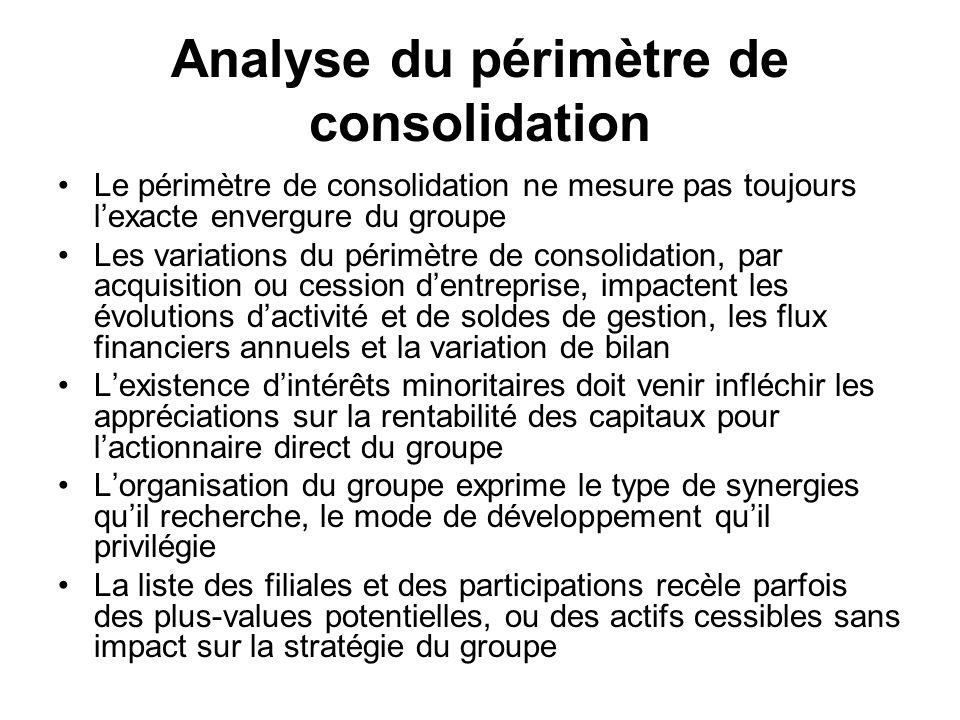 Analyse du périmètre de consolidation Le périmètre de consolidation ne mesure pas toujours lexacte envergure du groupe Les variations du périmètre de
