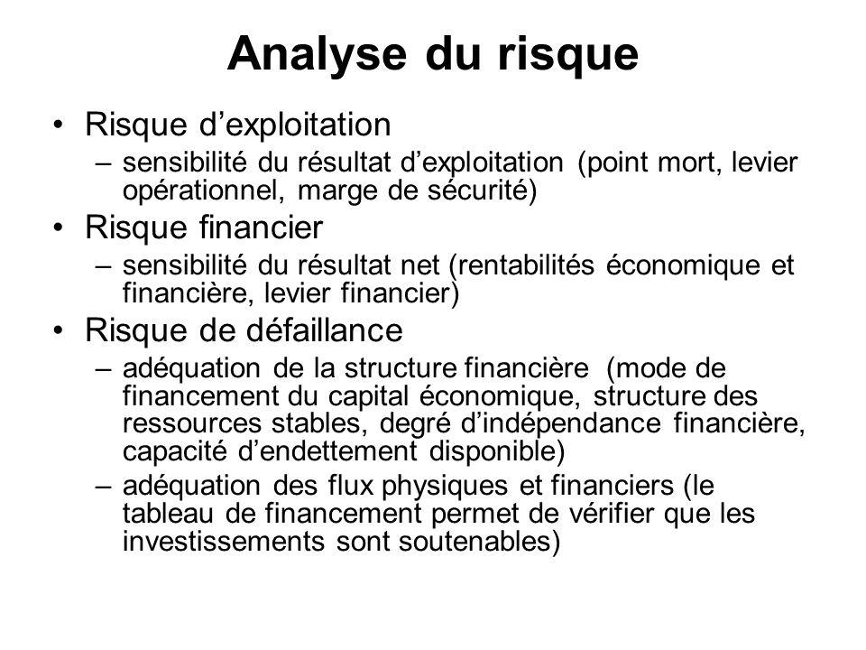 Analyse du risque Risque dexploitation –sensibilité du résultat dexploitation (point mort, levier opérationnel, marge de sécurité) Risque financier –s
