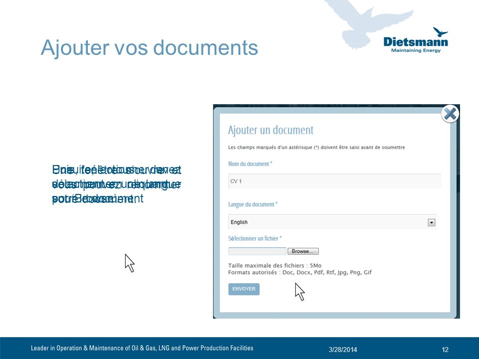 Une fenêtre souvre et vous pouvez renommer votre document. 3/28/201412 Ensuite, vous devez sélectionner une langue pour le document Puis, sélectionner