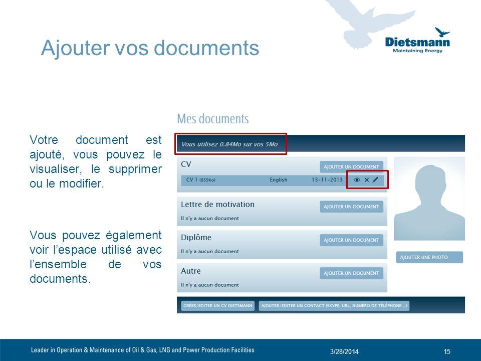 Votre document est ajouté, vous pouvez le visualiser, le supprimer ou le modifier. Vous pouvez également voir lespace utilisé avec lensemble de vos do