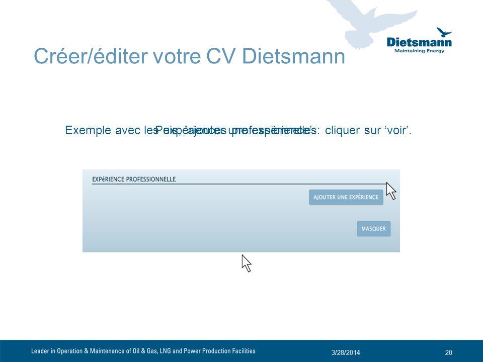 Exemple avec les expériences professionnelles: cliquer sur voir. 3/28/201420 Puis, ajouter une expérience Créer/éditer votre CV Dietsmann