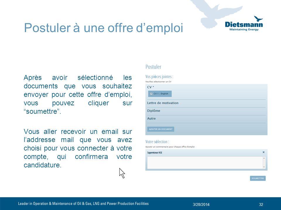 Après avoir sélectionné les documents que vous souhaitez envoyer pour cette offre demploi, vous pouvez cliquer sur soumettre.