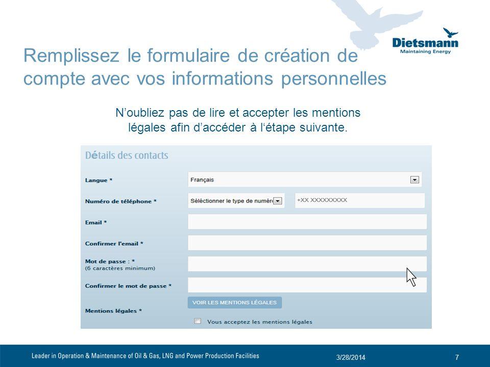 Ensuite, saisissez vos informations personnelles (état civil, nombre denfants à charge, type demploi recherché) et cliquez sur continuer.