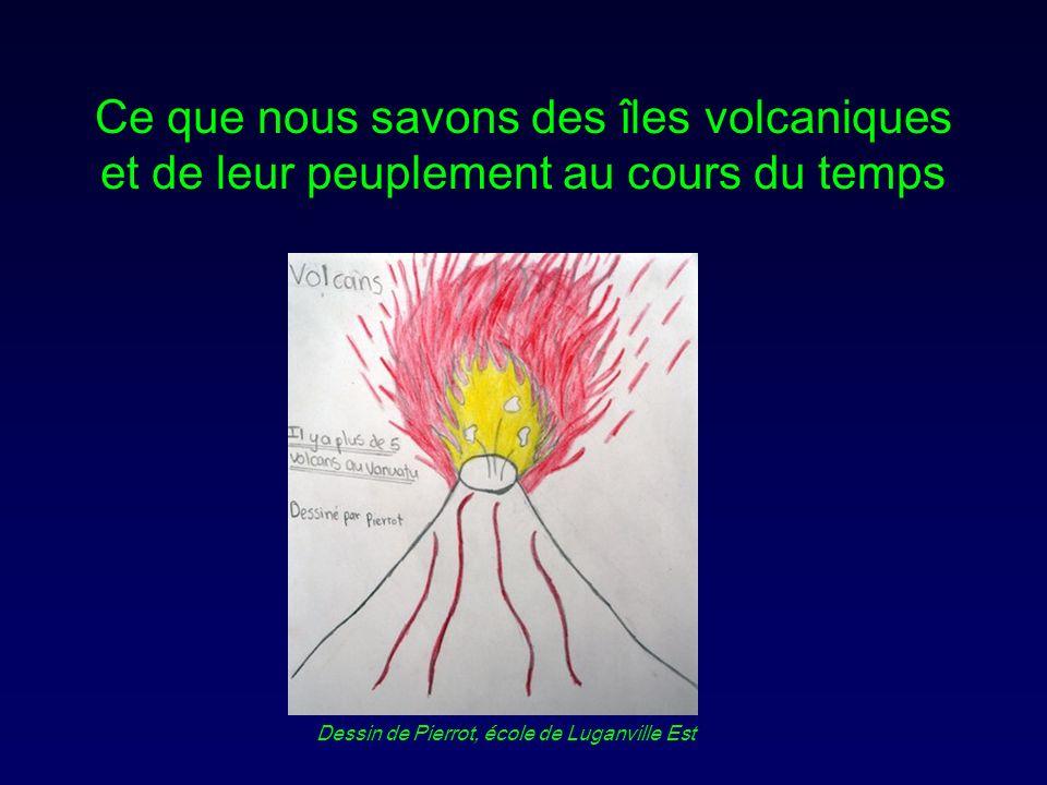 Ce que nous savons des îles volcaniques et de leur peuplement au cours du temps Dessin de Pierrot, école de Luganville Est