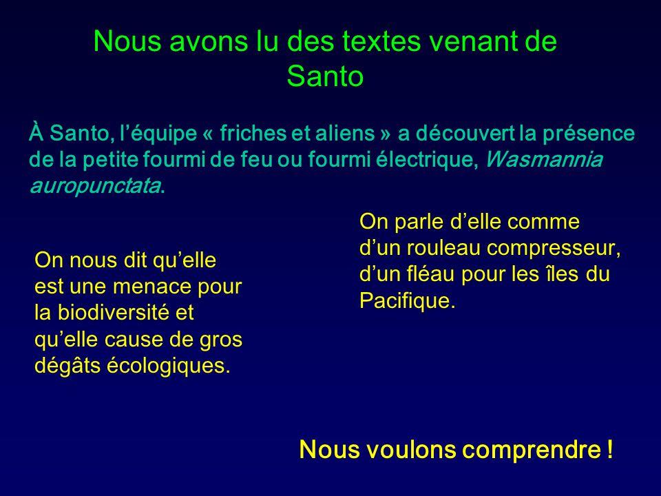 Nous avons lu des textes venant de Santo À Santo, léquipe « friches et aliens » a découvert la présence de la petite fourmi de feu ou fourmi électriqu