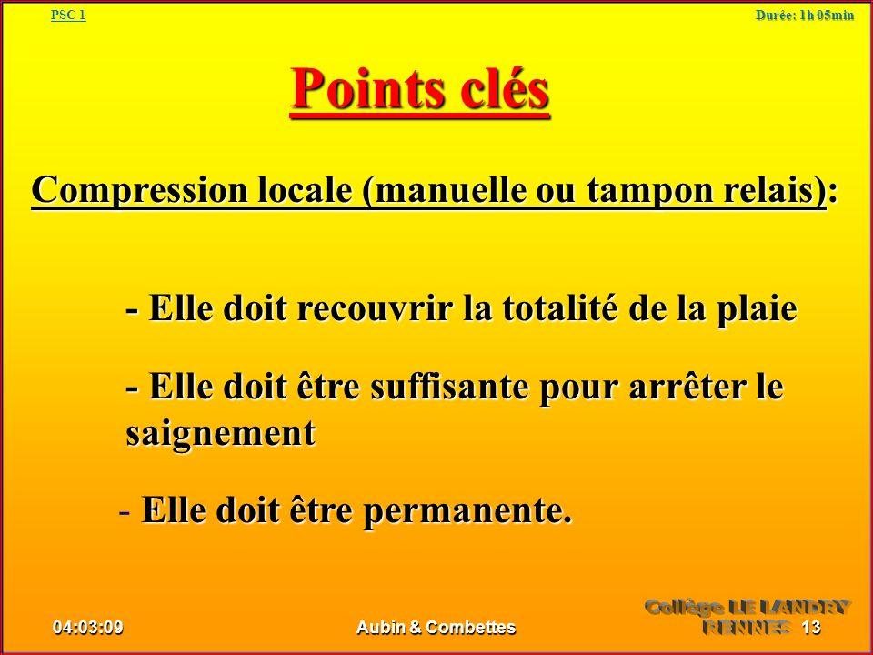 Points clés Compression locale (manuelle ou tampon relais): - Elle doit recouvrir la totalité de la plaie - Elle doit être suffisante pour arrêter le