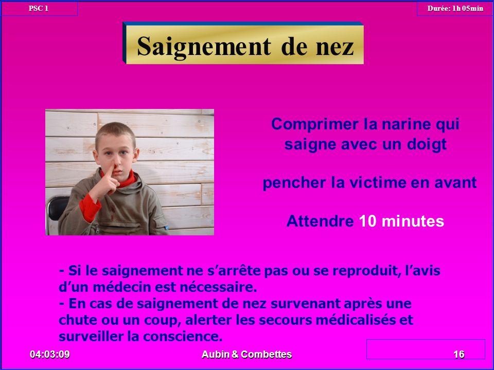 Saignement de nez Comprimer la narine qui saigne avec un doigt pencher la victime en avant Attendre 10 minutes - Si le saignement ne sarrête pas ou se