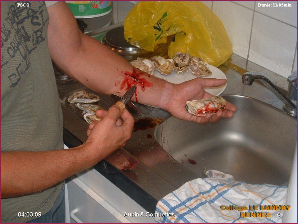 La victime présente une plaie qui saigne avec corps étranger Il ne faut en aucun cas enlever le corps étranger, car il diminue le saignement et son retrait pourrait aggraver la lésion.