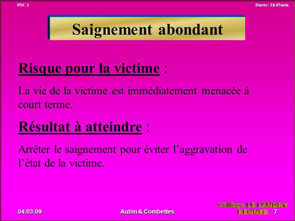 Saignement abondant Risque pour la victime : La vie de la victime est immédiatement menacée à court terme. Résultat à atteindre : Arrêter le saignemen