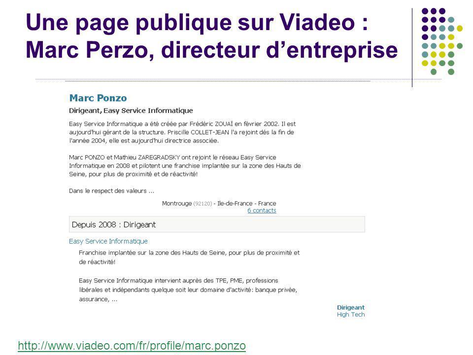 Une page publique sur Viadeo : Marc Perzo, directeur dentreprise http://www.viadeo.com/fr/profile/marc.ponzo