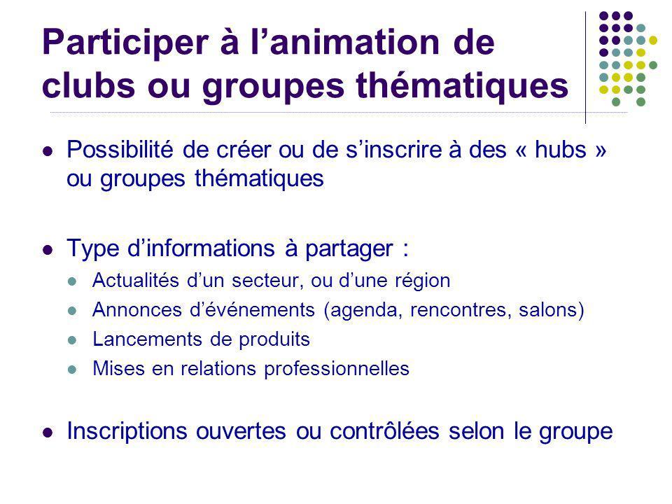 Participer à lanimation de clubs ou groupes thématiques Possibilité de créer ou de sinscrire à des « hubs » ou groupes thématiques Type dinformations