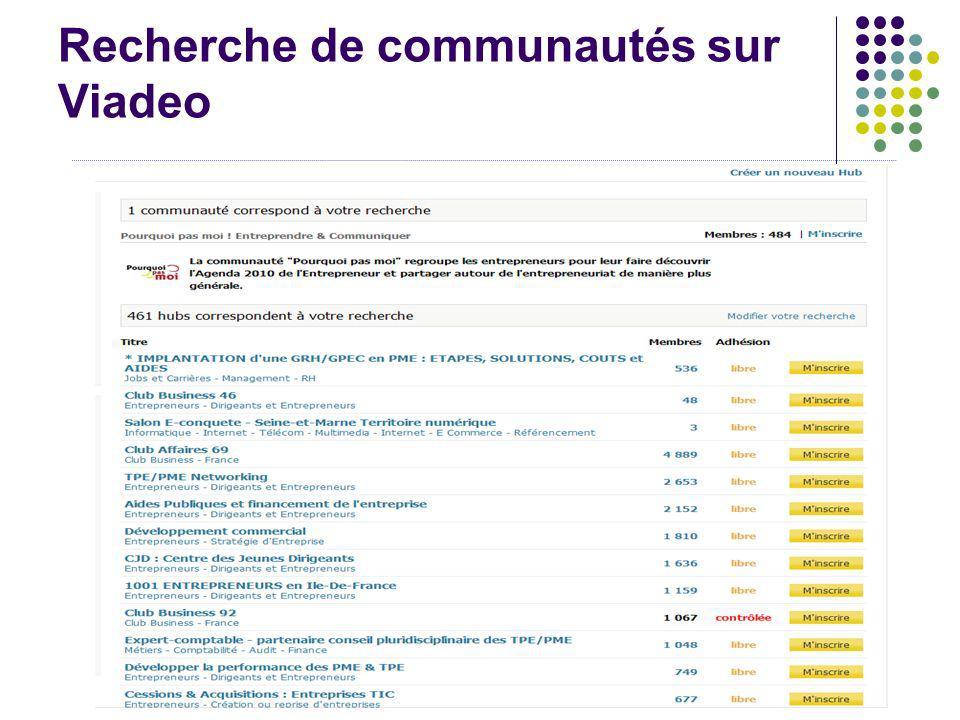 Recherche de communautés sur Viadeo