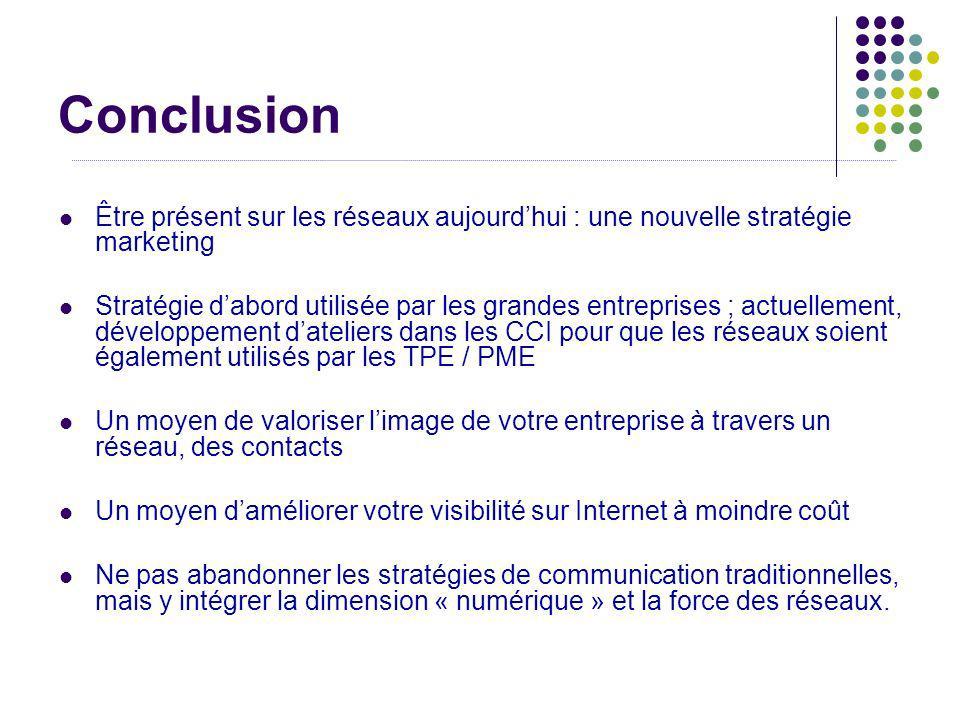 Conclusion Être présent sur les réseaux aujourdhui : une nouvelle stratégie marketing Stratégie dabord utilisée par les grandes entreprises ; actuelle