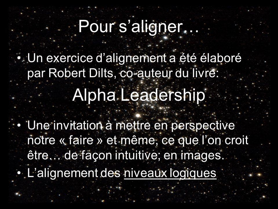 Pour saligner… Un exercice dalignement a été élaboré par Robert Dilts, co-auteur du livre: Alpha Leadership Une invitation à mettre en perspective notre « faire » et même, ce que lon croit être… de façon intuitive; en images.